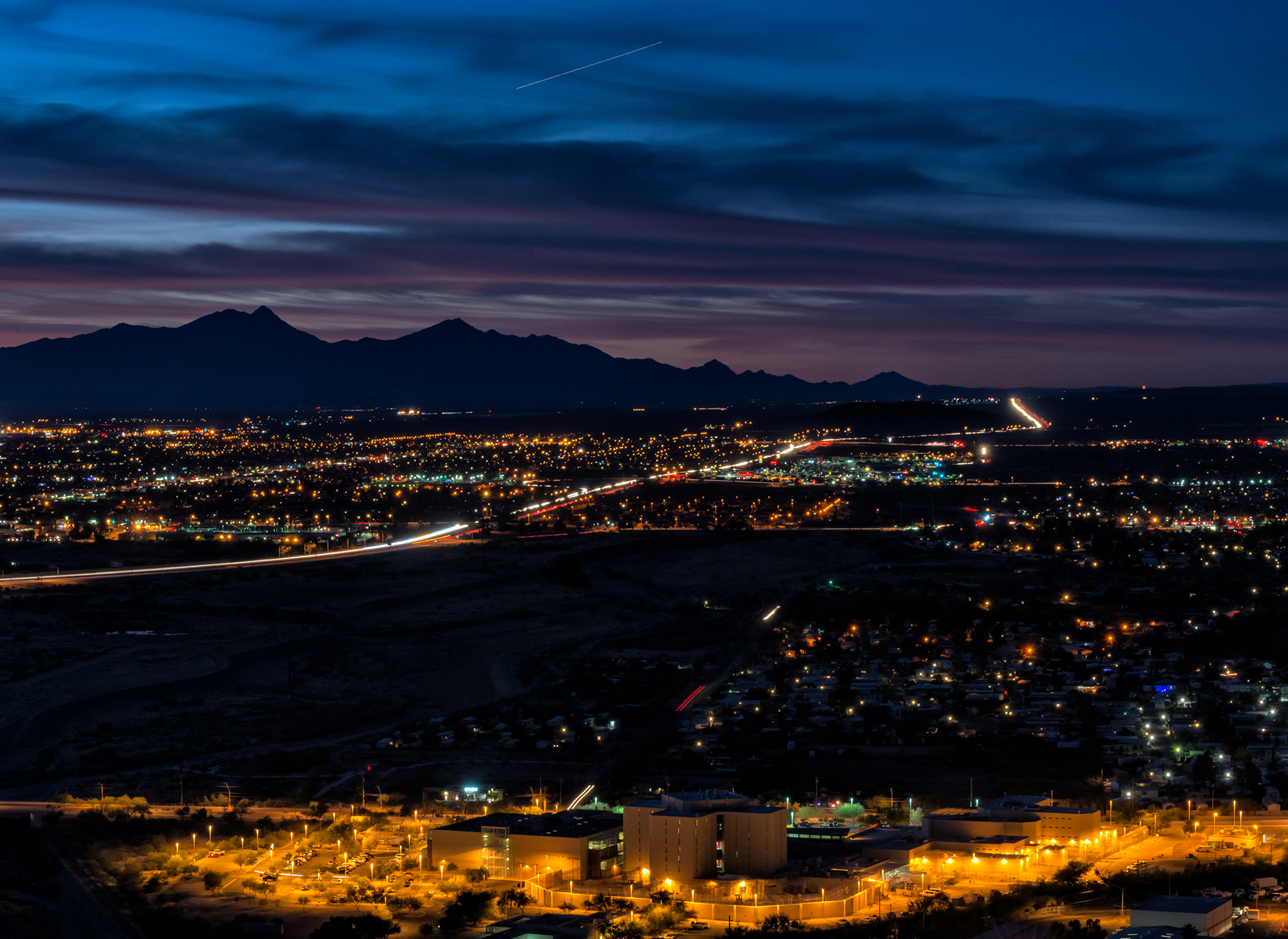 First Light Over the City. Tucson, Arizona, 2015 (Mt. Wrightson and the Santa Rita Range is on the horizon.)