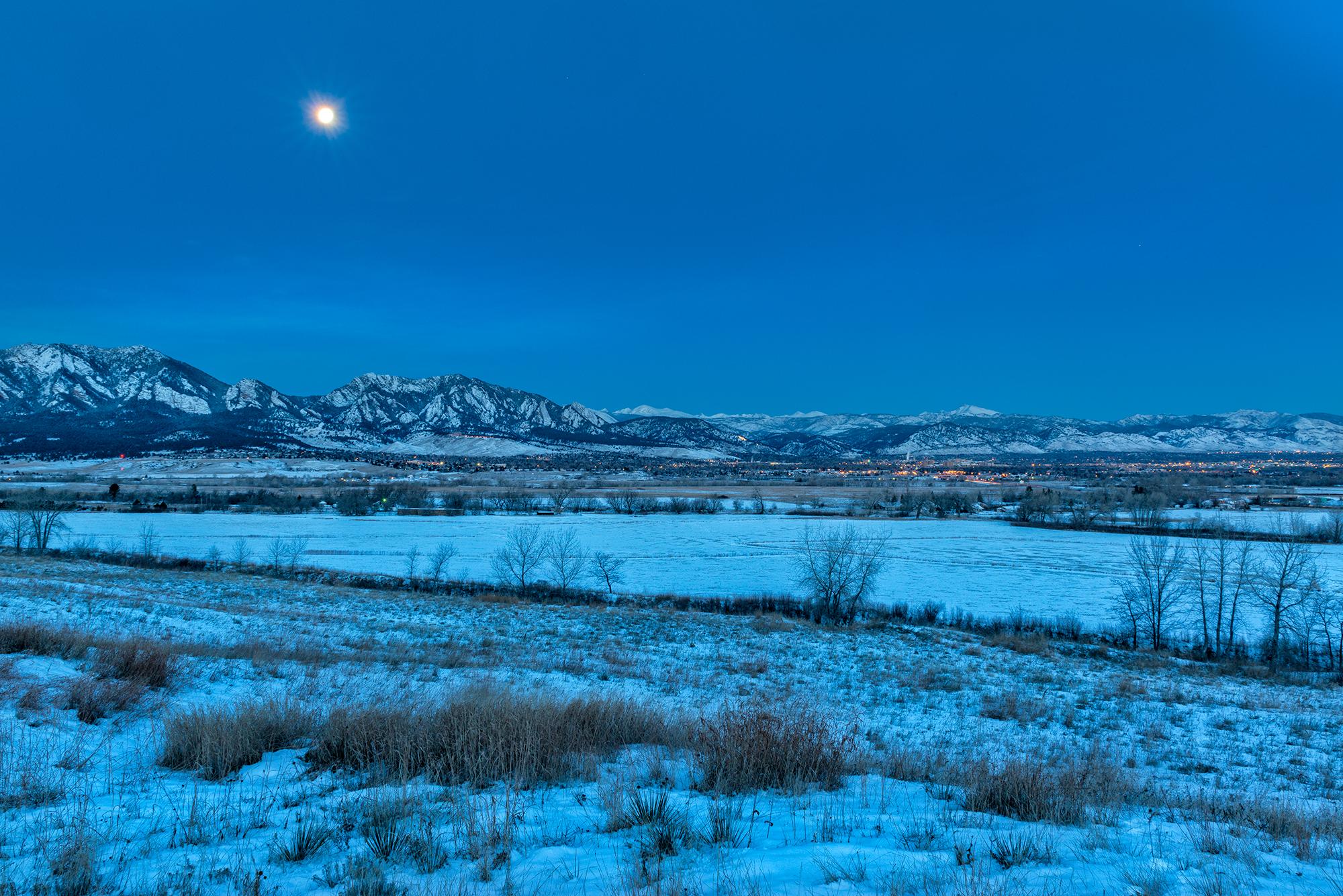 Moon Over Boulder, Pre-Dawn. Boulder, Colorado, 2015