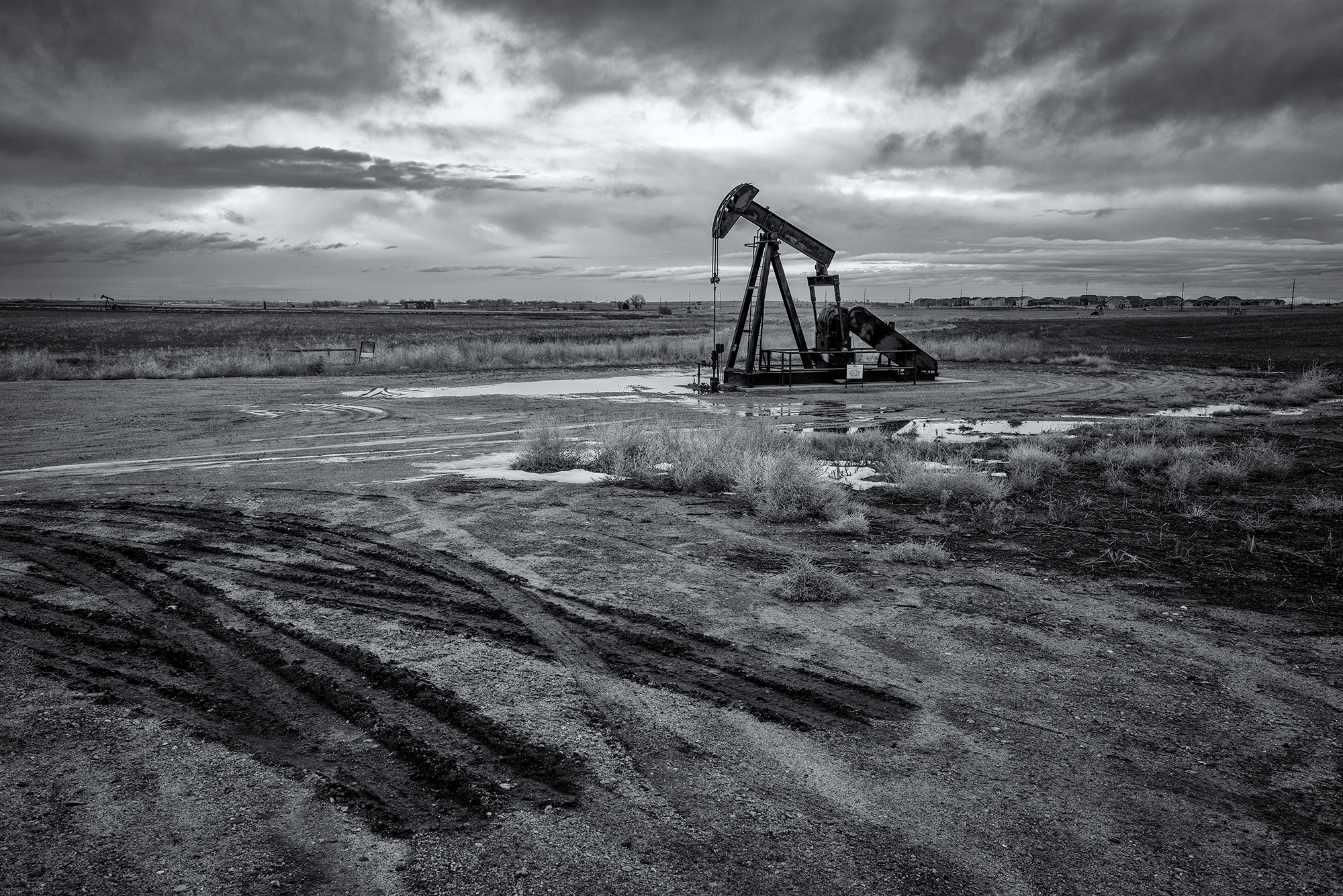 Pumpjacks and New Subdivision, Dacono. Weld County, Colorado, 2016