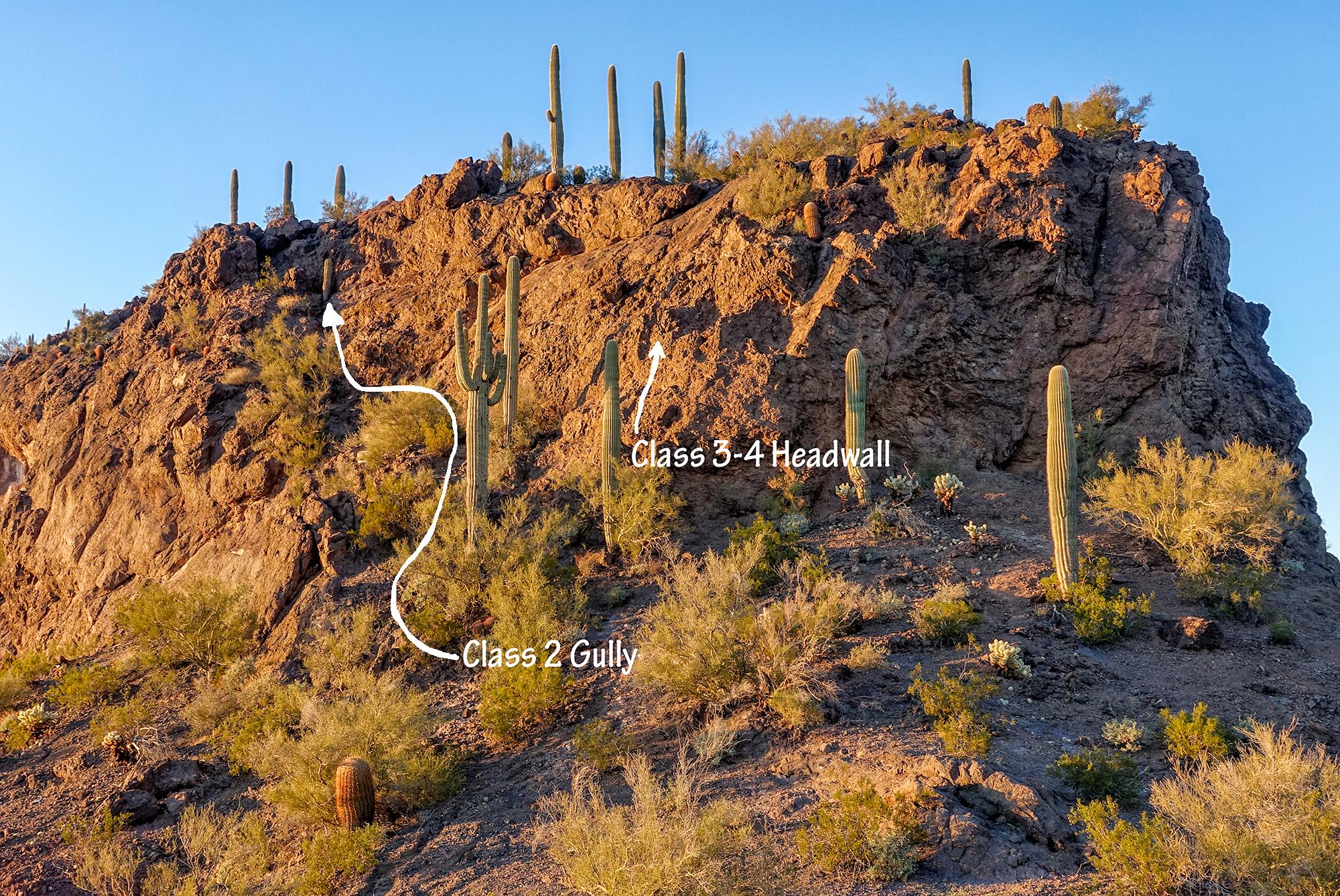 North Summit Route, Initial Difficulties. Picacho Peak, Arizona, 2016