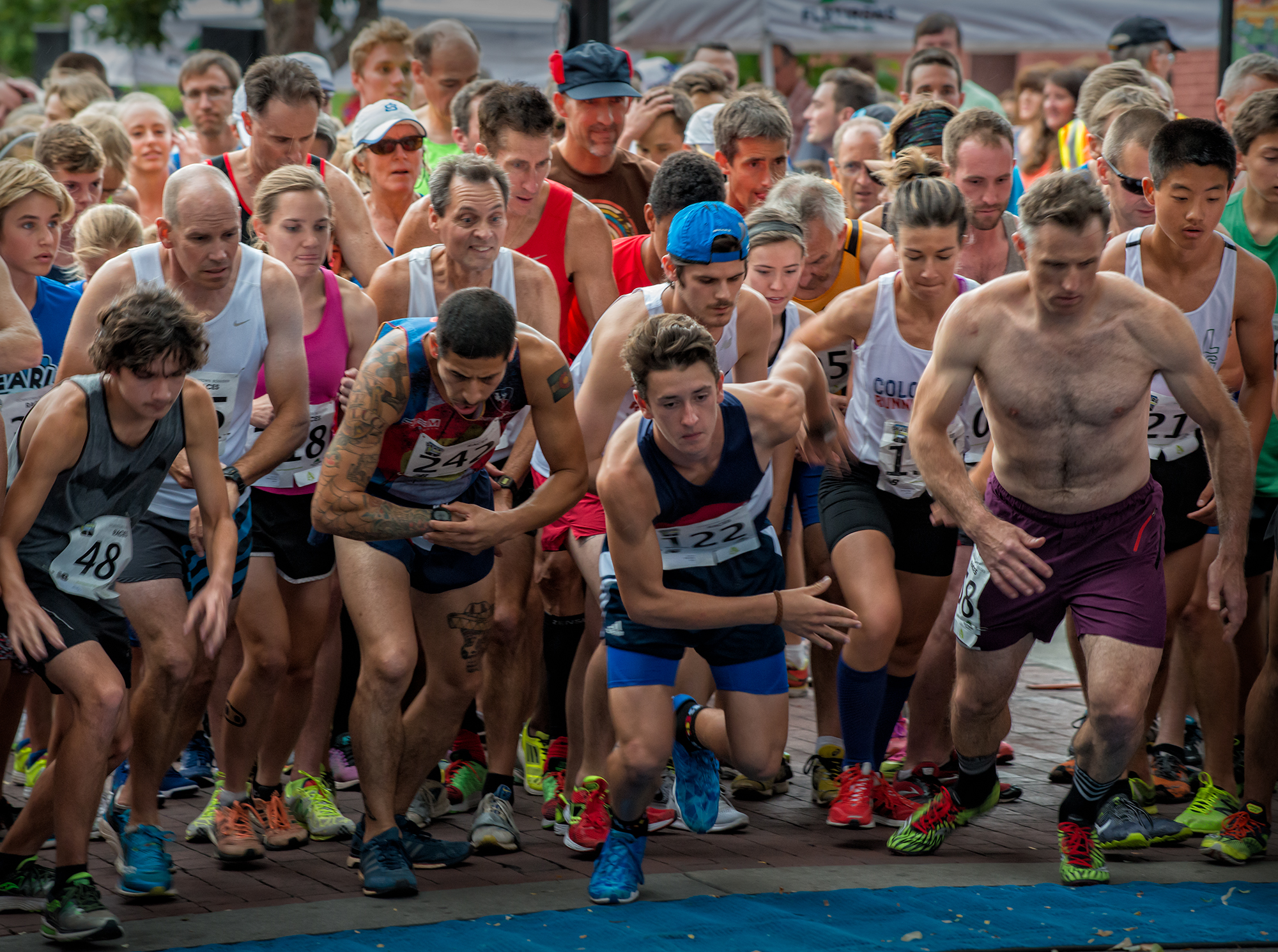 Expressions at the Gun, Pearl Street Mile. Boulder, Colorado, 2016