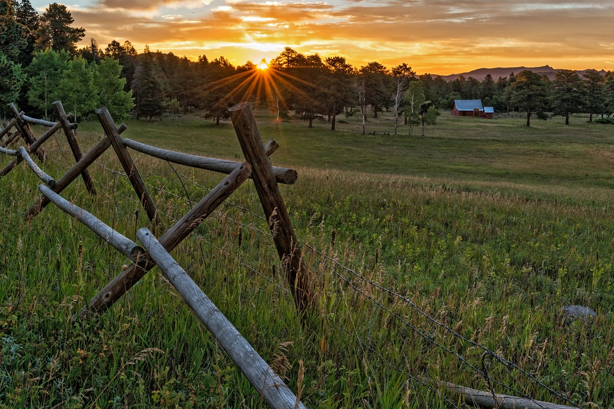 Red Barn at Sunrise. Caribou Ranch Open Space, Colorado, 2016