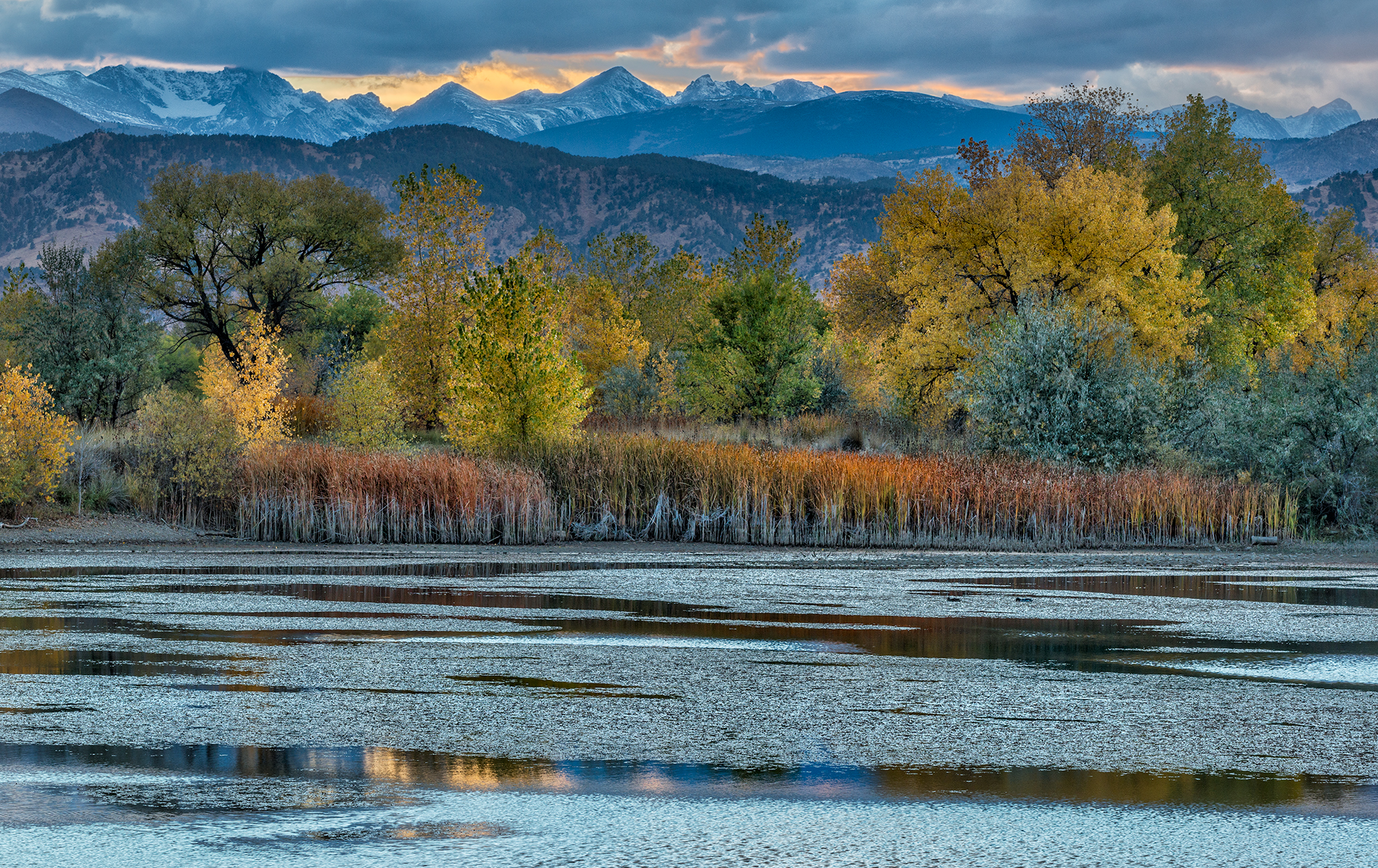 Indian Peaks Sunset at Sawhill Ponds. Near Boulder, Colorado, 2016