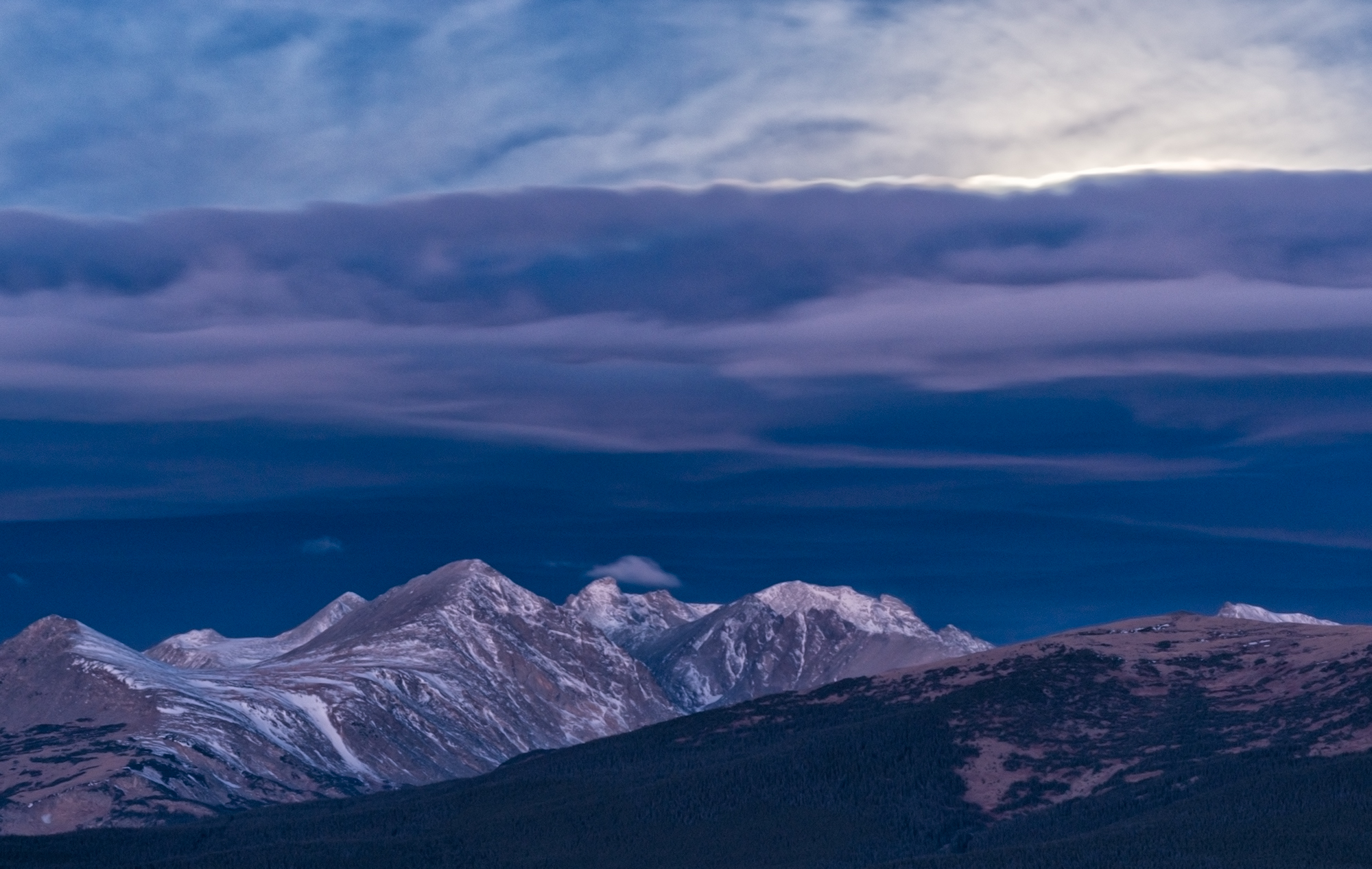 Moonlight Over Indian Peaks, #1. From Sugarloaf Mountain, Colorado, 2016