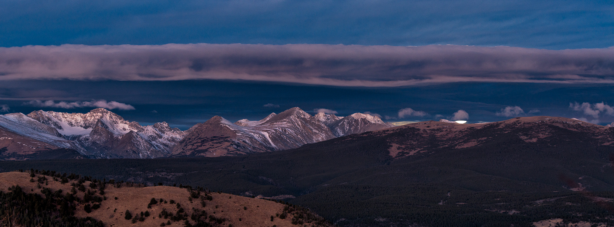 Moonset Over the Indian Peaks Wilderness. From Sugarloaf Mountain, Colorado, 2016