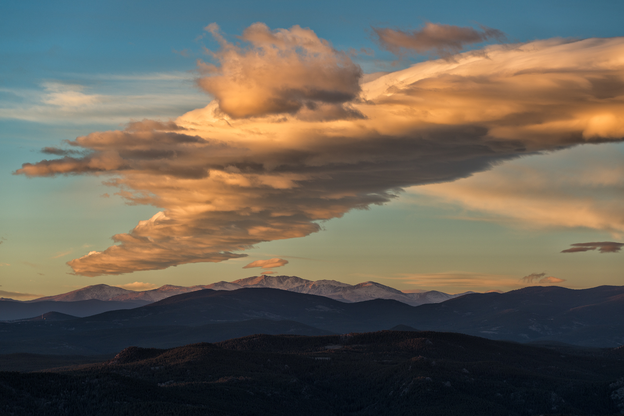 Mt. Evans at Sunrise. From Sugarloaf Mountain, Colorado, 2016