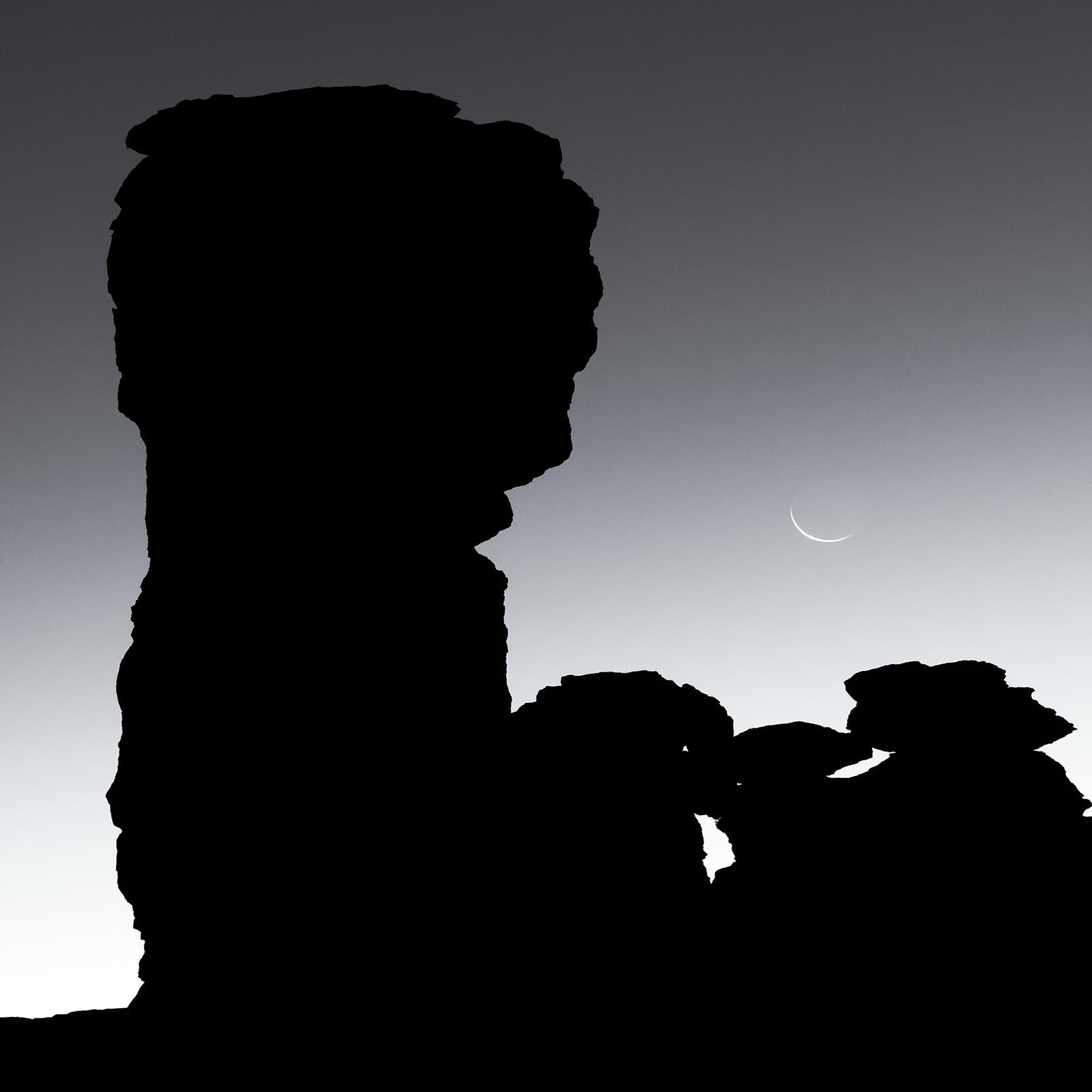 Fingernail Moon and Hitchcock Pinnacle. Windy Point, Mount Lemmon, Arizona, 2017