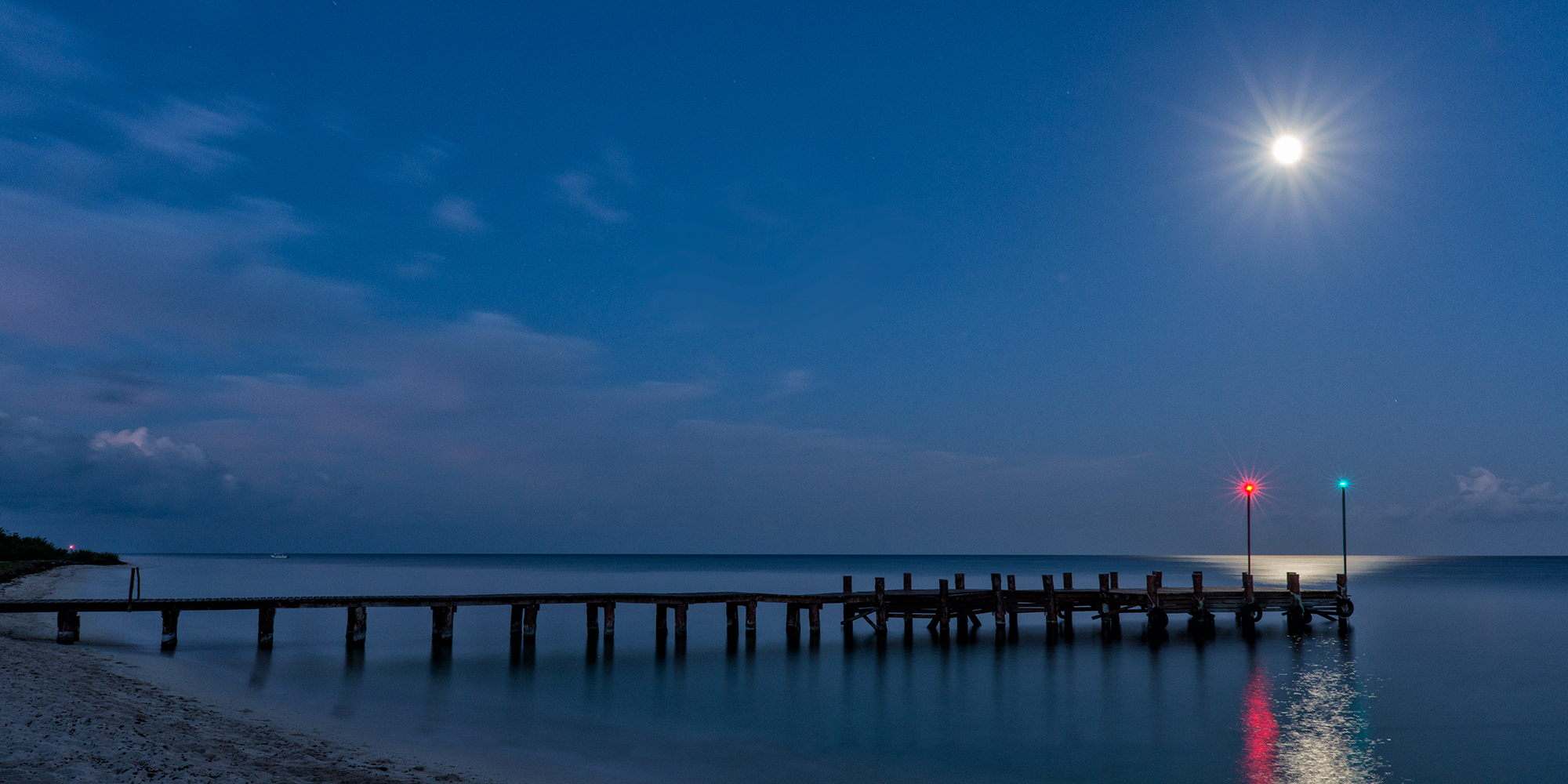 Moon Over the Pier. Cozumel, Mexico, 2017